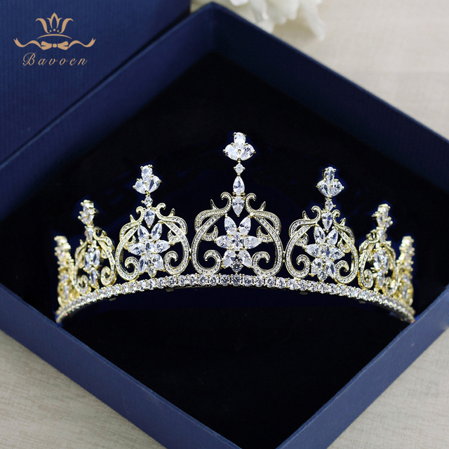 Sparkling Full Zircon Tiaras Crowns for Brides Princess Gold  Wedding Hairbands Crystal Evening Hair Jewelry Wedding  Gifts