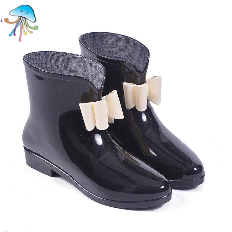 Glitter Cute Round Toe Soft Walking Rainboots for Women Ankle Rain Boots Shoes Stylish Short Tube