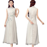 Classic Literature Art Chinese Style Women S Clothing Improved Tea Clothes Slim Sleeveless Elegant Temperament Gray