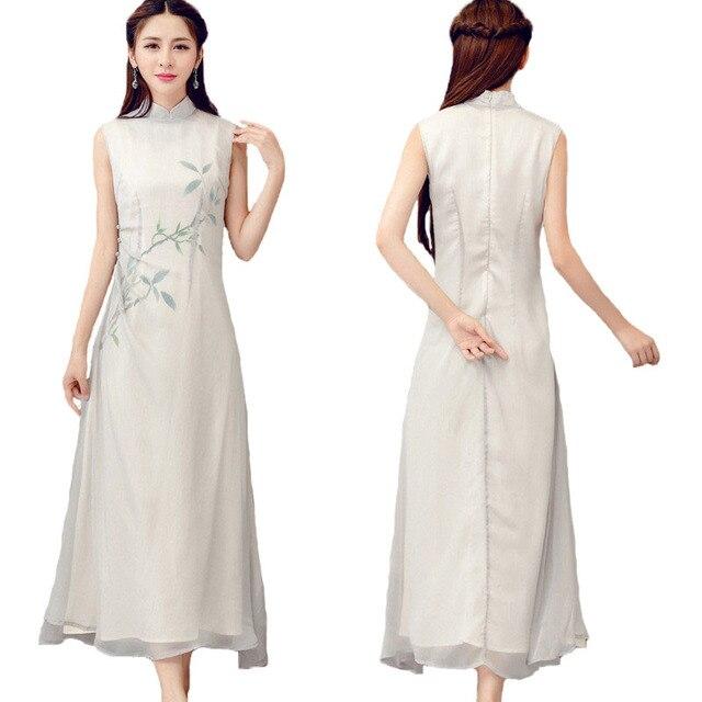 02fcf271a2 Klassische Literatur Kunst Chinesische Stil frauen Kleidung Verbesserte Tee  Kleidung Dünnen Sleeveless Elegantes Temperament Grau Kleider