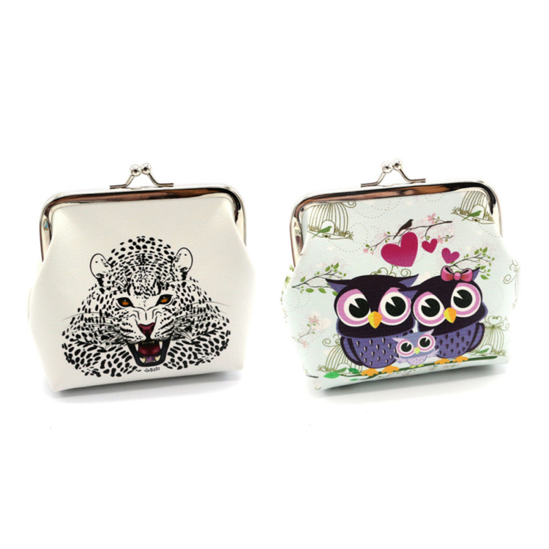 Cute Cartoon Owl Printing Pattern Coin Purse for Girls Small Change Pouch Pu Leather Clutch Kids Gift Mini Kawaii Wallets 4 women mini coin wallets cute cartoon cat coin purse gift for kids girls small change purse 10pcs