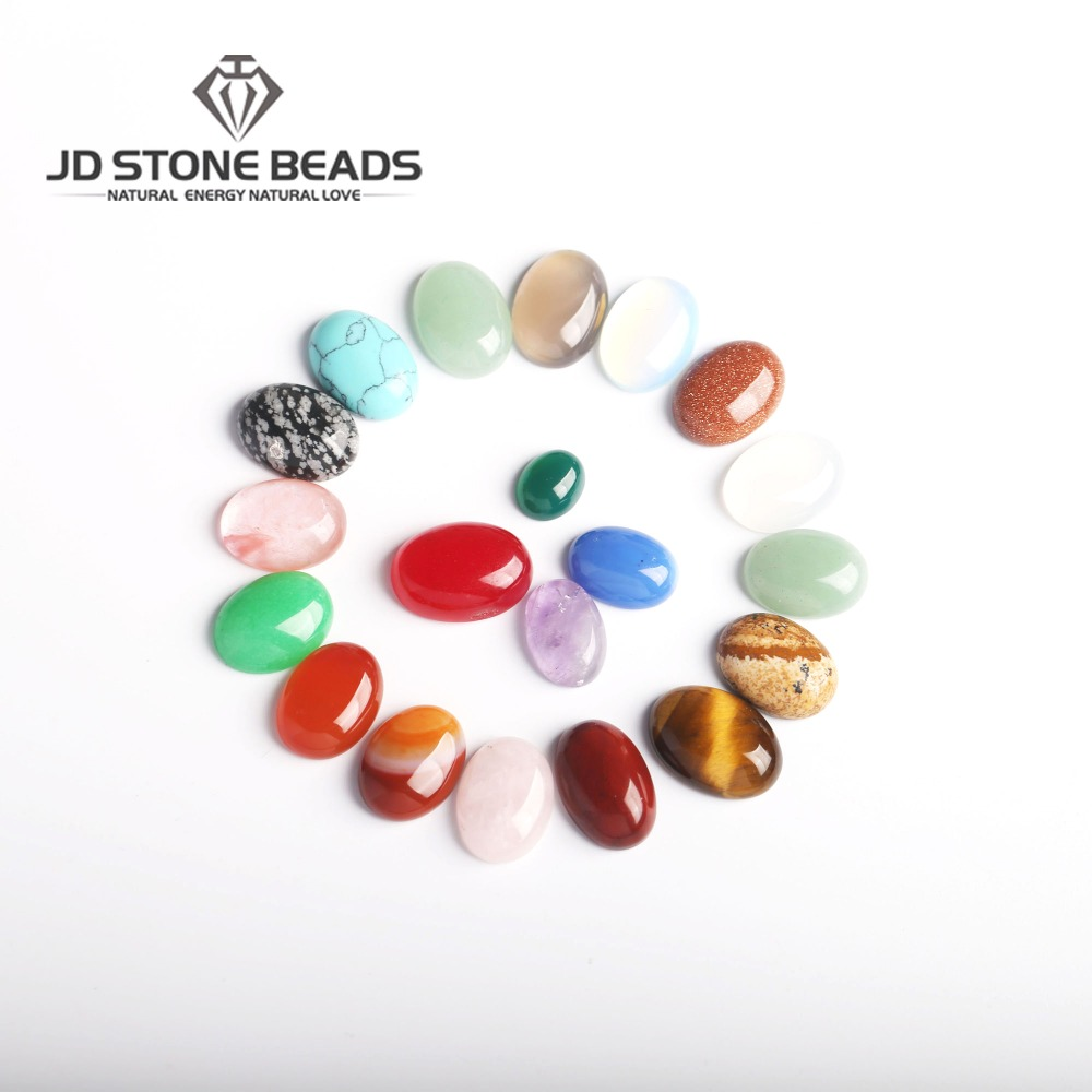 Oval Shape  CAB Cabochons Mixed Color Flat Back Ring  Gifts   Gemstone Accessories 15pcs A Lot Stone  Beads