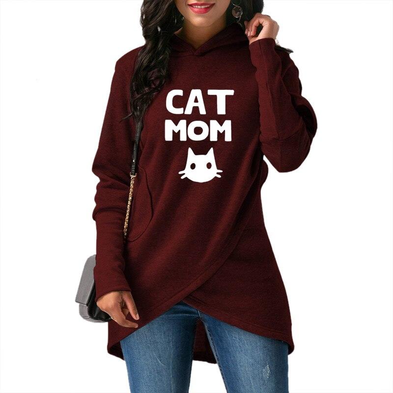 2018 frühjahr und Herbst frauen Neue Hoodie Mode frauen Komfort Pullover Katze Mom Druck Sweatshirt Top Hoodie Große größe Weibliche