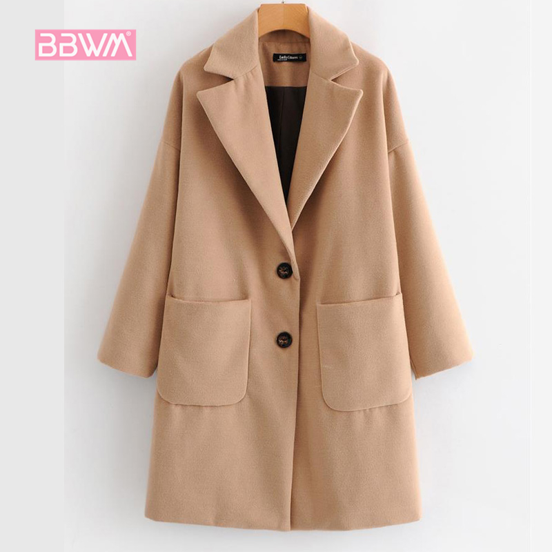 Exquisite women's 2018 autumn new beige double breasted pocket lapel coat women's jacket Warm and windproof in winter