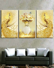 5d diy diamond painting peacock animal 3d cross stitch full square drill embroidery 3pcs
