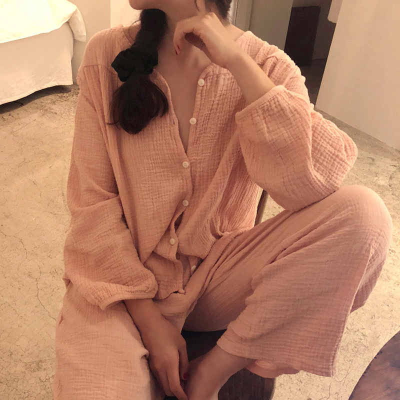 Summer Ladies Sexy Cotton Pajamas Set Women Cute Lingerie Solid Color Pijama Suit Tow-pieces Long Sleeve Top And Trousers