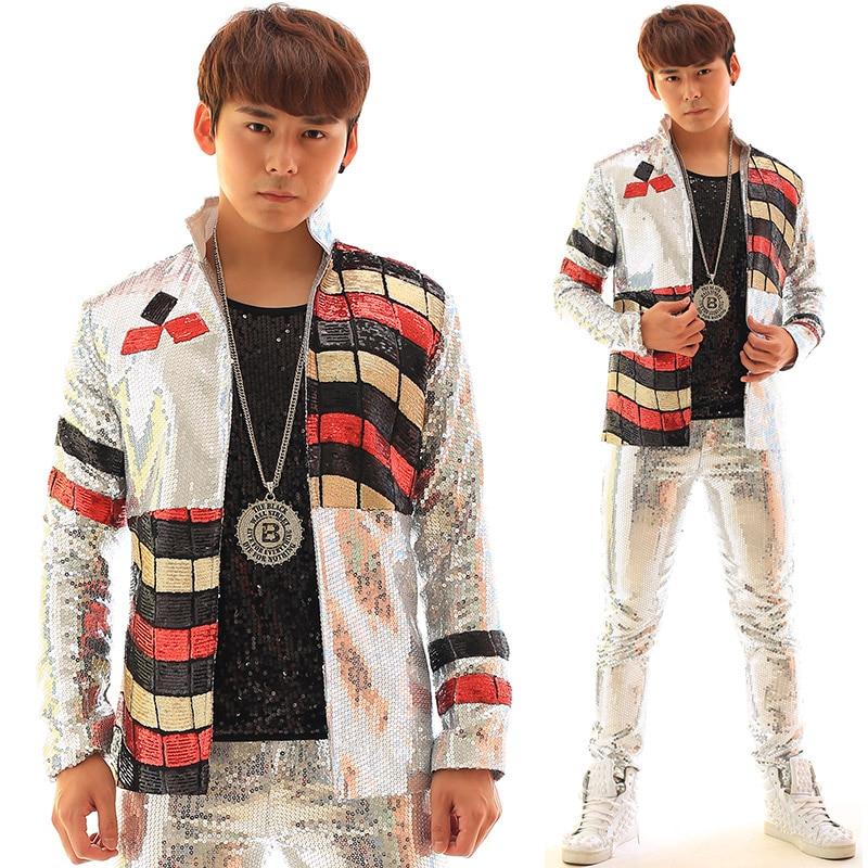 Multicolor Graffiti Sequins  Silver Men Jacket  Bar Nightclub Male Singer  Costume  Slim  Popular  Individuality  Stage Coat