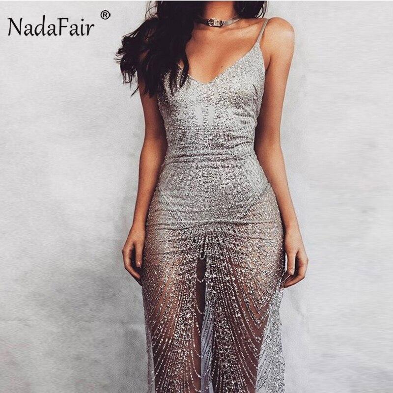 Nadafair sin mangas de la correa de espagueti del V cuello de plata de lentejuelas vestido Sexy Club Bodycon vestido de fiesta