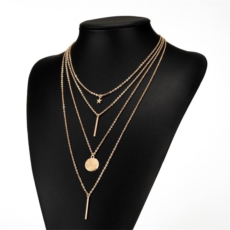 KISSWIFE Новое винтажное Бохо многослойное ожерелье с подвеской для женщин Золотая Звезда рога металлическое ожерелье в этническом стиле воротник - Окраска металла: Gold