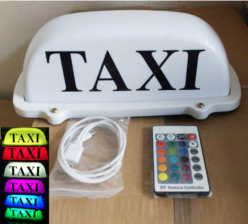 Taxi Top Light 7 Color Change LED Taxi UBER Cab Sign Car Blank Roof Top Light USB Rechargeable Car Roof Light G1WSQP08174  12v taxi magnetic base roof top cab led sign light lamp with cigarette lighter