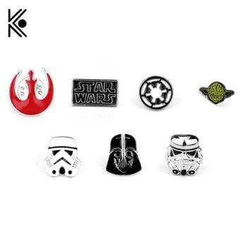 15 tipos de Pin de Star Wars broche de Stormtrooper Pin Star Wars Darth Vader Alianza Rebelde Falcon Yoda broche insignias de solapa de alfiler hombres mujeres