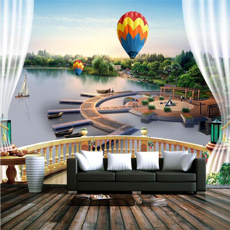 Custom Sky Wallpaper Hot Air Balloon 3d Photo Wall Paper Thicken Children Wallpaper TV Background Bedroom Kitchen Study Kitchen ao058m 2m hot selling inflatable advertising helium balloon ball pvc helium balioon inflatable sphere sky balloon for sale