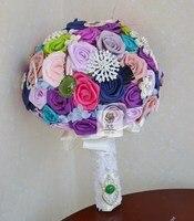 Luksusowe Ręcznie Wysokiej Jakości kolorowych Tkanin Rose Kwiaty Dla Nowożeńców Biżuteria Ślubna Bukiet Ślubny Panny Młodej Kwiat Europejskiego stylu