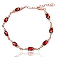 Almei Rose Gold Color 925 Sterling Silver Chain Bracelet with Charms 8 Stones Oval Cut Real Red Garnet January Birthstone Bangle