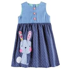 Girls baby sleeveless dress summer new children wearing embroidered rabbit figure round neck H7140