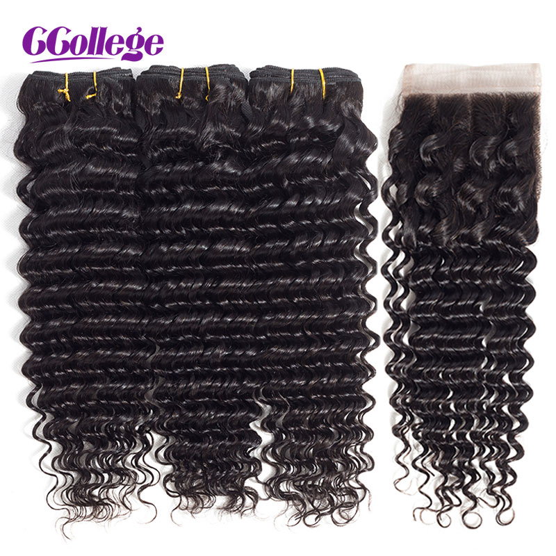 Ccollege Brazilian Remy Hair Deep Wave 3Bundles With Closure 4pcs/lot 100% Human Hair Weaves With Closure 8-28inch Natural Color