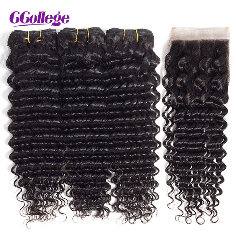Ccollege Brazilian Remy Hår Deep Wave 3Bundles With Closure 4st / - Mänskligt hår (svart)