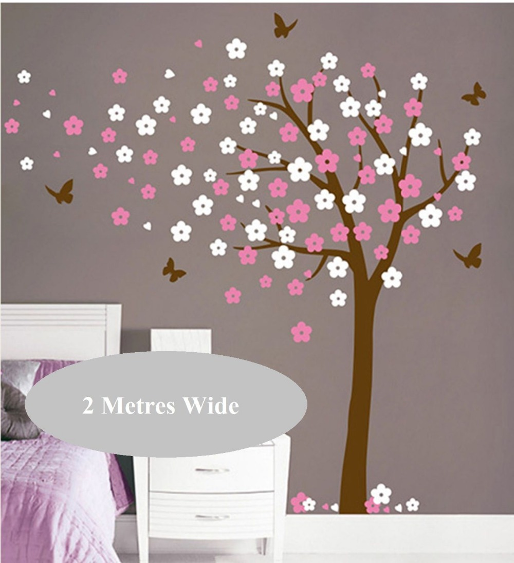 Cherry Blossom Flowers Tree and Butterflies Wall Decal for Nursery Kids Room Art