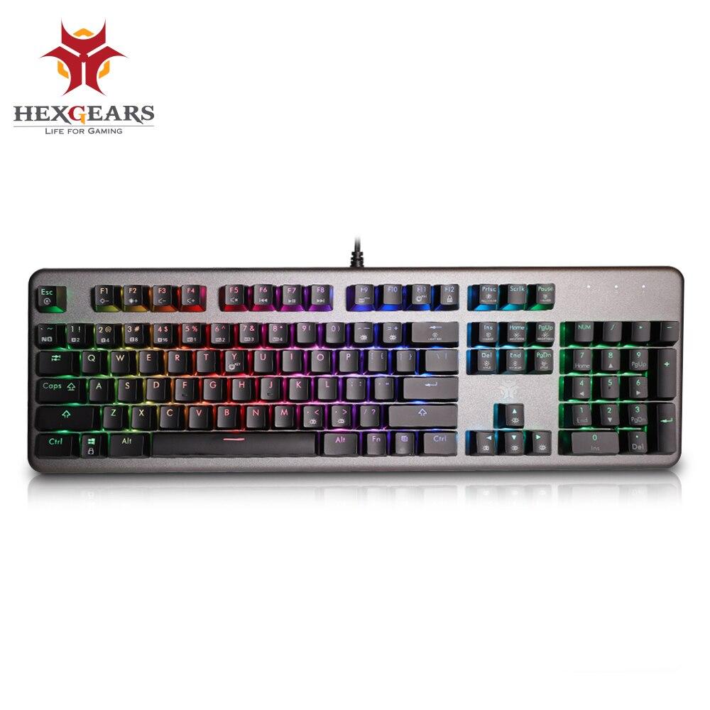 Hexengrenages GK755-B clavier mécanique RGB rétro-éclairage Volume roue 104 touches 2 ports USB claviers de jeu Kailh commutateur clavier Gamer