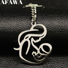 2019 Fashion Mon Baby Stainless Steel Keyring for Women Silver Color Keychains Jewelry portachiavi donna K77473B
