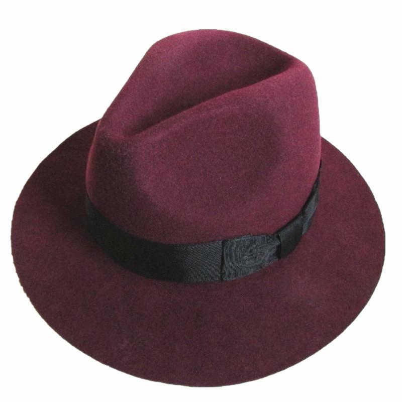 b36bd8ea983 Fashion Burgundy Red Young Men or Women Wool Felt Fedora Hat -6.5cm Wide  Brim