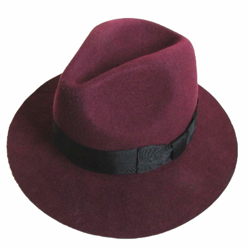 f706d43824cfb Fashion Burgundy Red Young Men or Women Wool Felt Fedora Hat 6.5cm Wide  Brim-in Men s Fedoras from Apparel Accessories on Aliexpress.com