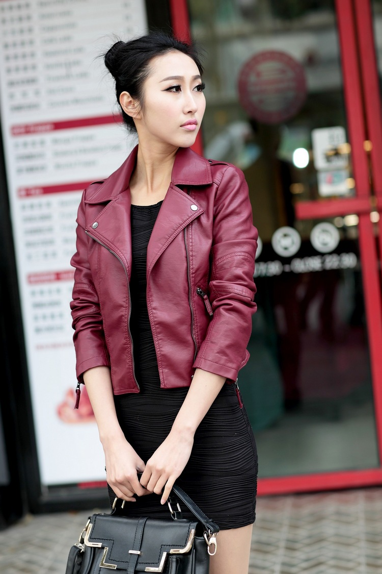 HTB1.fqcKaSWBuNjSsrbq6y0mVXas XS-4XL Hot Sale 2019 New Women Spring Autumn Jacket Black/Red Fashion Female Coat Slim PU Leather Short Outwear Jacket Plus Size