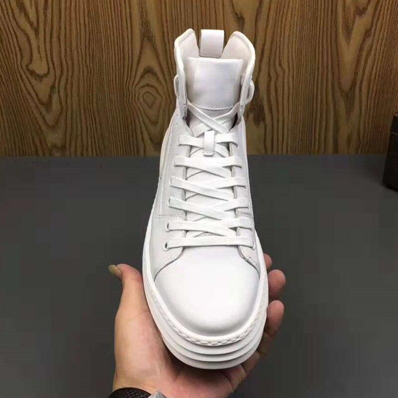 Zapatillas Bieber Casuales Botas Genuino Hombres Blancos blanco Zapatos De Moda Superstar Altos Negro Justin Cuero Hombre tCxaqRfnXw