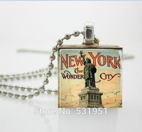 Женская ожерелье мода 2014, статуя Свободы в Нью-Йорке Ожерелье-Эрудит Плитка Подвеска Ювелирные Изделия