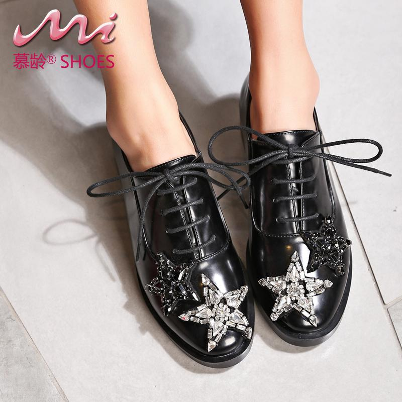 ФОТО 2017 New Women Shoes Handmade Big Crystal Flats Oxfords Spring/autumn Lace-up Superstar Casual Shoes For Woman Plus Size 40-43