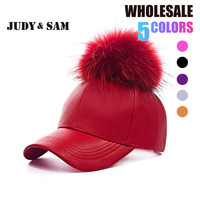 2016 New Real Fur Pom Pom Snapback For Women Spring Candy Color PU Baseball Cap With