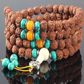 Ubeauty 10mm 108 natural Nepal Rudraksha Mala Beads bracelet Tibetan Buddhist prayer meditation necklace for women men