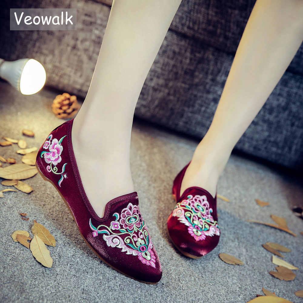 Veowalk 手作り Wommen 春美しい民俗刺繍バレエフラッツコンフォートソフトキャンバスシューズ歳北京フラット靴