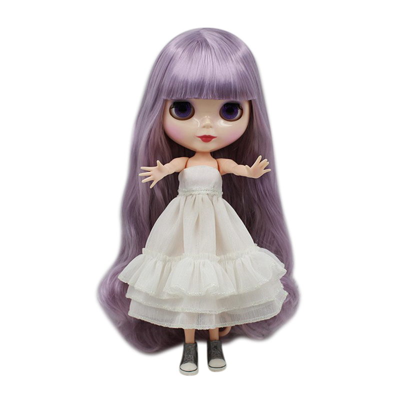 ICY Nude Blyth doll No BL1049 Purple hair long with bangs JOINT body White skin 1