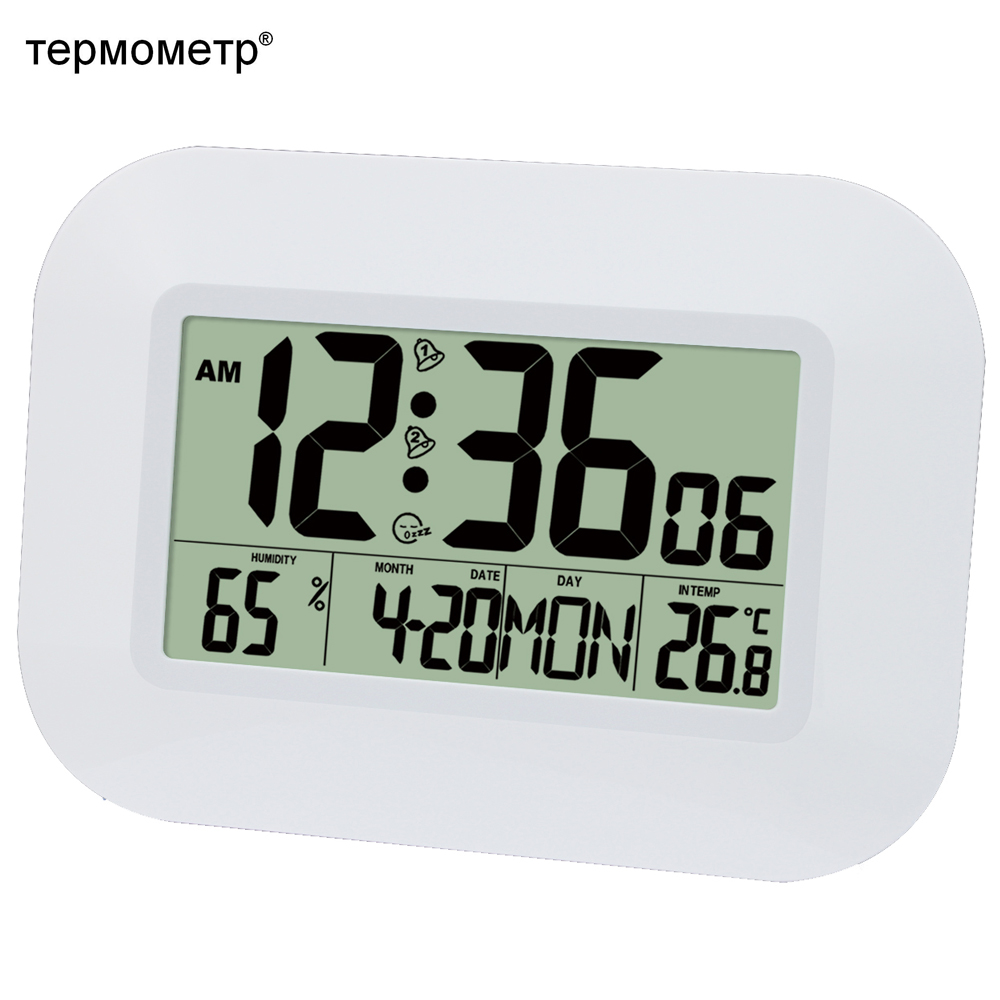 Big Number LCD Digital Wall Clock Table Desktop Alarm Clock with Thermometer Temperature Humidity Hygrometer Tunda Calendar