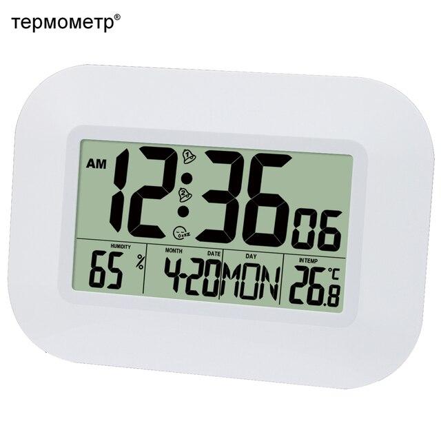 aad1ae17f1d Grande Número de Mesa LCD Relógio De Parede Digital Desktop Despertador com  Snooze Calendário Termômetro Temperatura