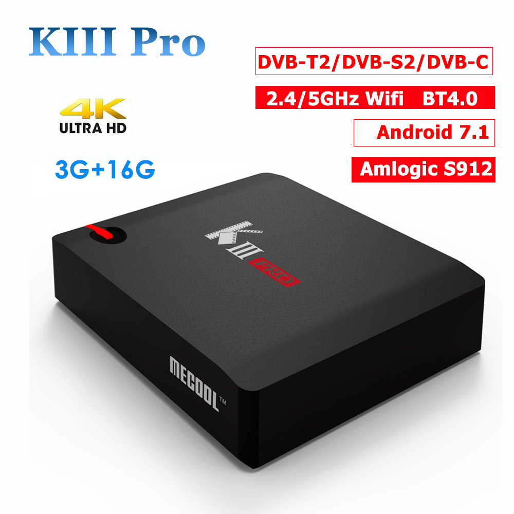 MECOOL KIII Pro 3g/16g Tv Box DVB-T2/DVB-S2/DVB-C Android 7.1 Amlogic S912 4 k BT4.0 H.265 Avec Clines/Europe IPTV Set Top Box