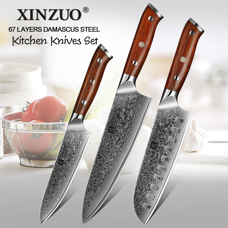 XINZUO 3 PCS Kitchen Knife Set Japanese Damascus Steel Stainless Steel Cutlery Sharp Professional Santoku Utility