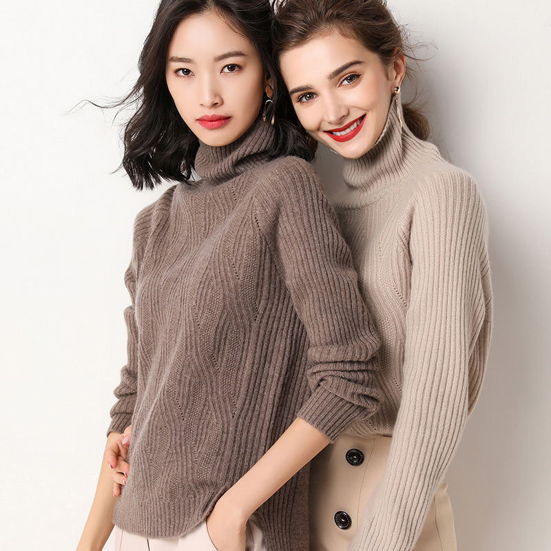 Stylish Ladies Turtleneck Pullover Oversized Sweater Long-sleeved Sherpa Cashmere Pullover Cashmere Sweater Free Shopping