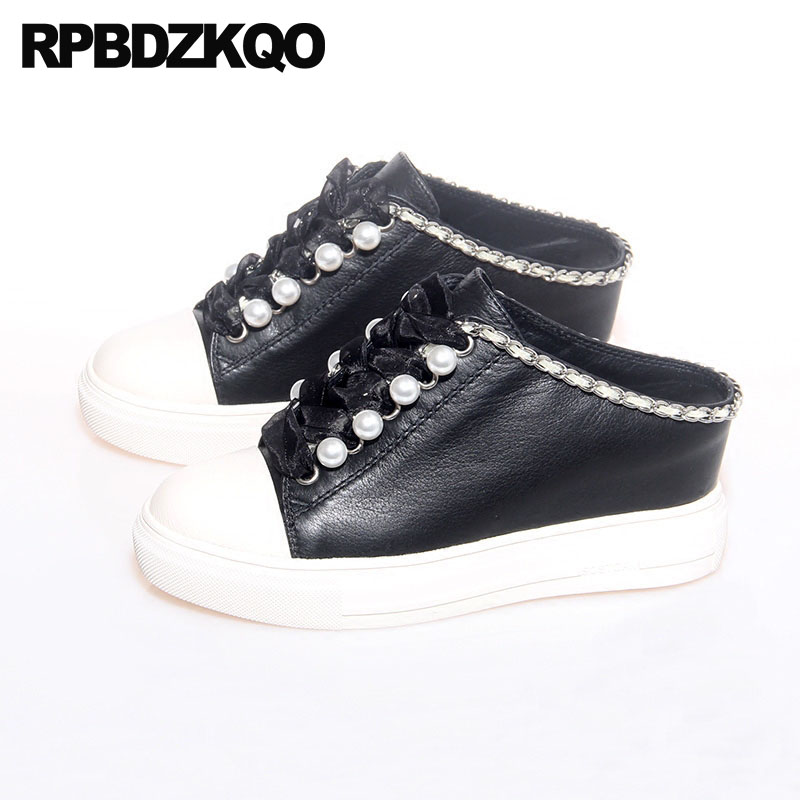 44c7bbb27 Pearl High Heels Shoes Platform Creepers Metal Casual Harajuku Women Round  Toe Increase Mules Slipper Wedge Black Hidden Pumps-in Women's Pumps from  Shoes ...