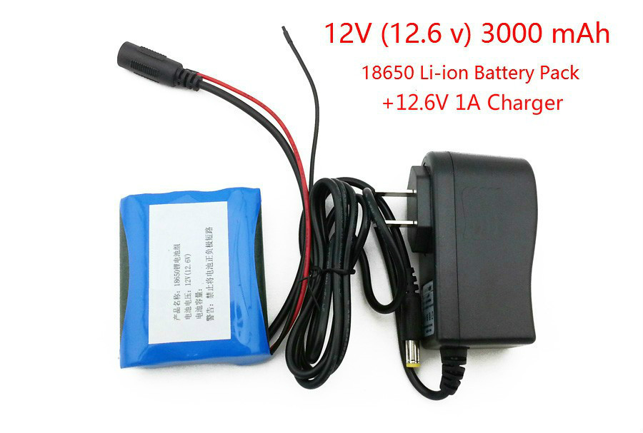 <font><b>12</b></font> <font><b>V</b></font> 18650 3000 mAh Li-ion <font><b>battery</b></font> <font><b>12</b></font>.6 <font><b>V</b></font> 3AH CCTV Cameras <font><b>battery</b></font> pack and charger <font><b>12</b></font>.6 1A image