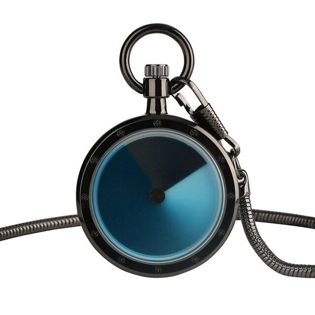 Hot Sale Minimalist Black Case Blue Dial Cool Simple Quartz Pocket Watch Men Wom