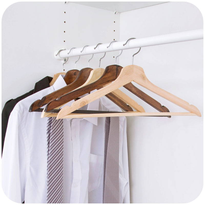 1pc Vintage Wood Strong Clothes Hanger Drying Rack For