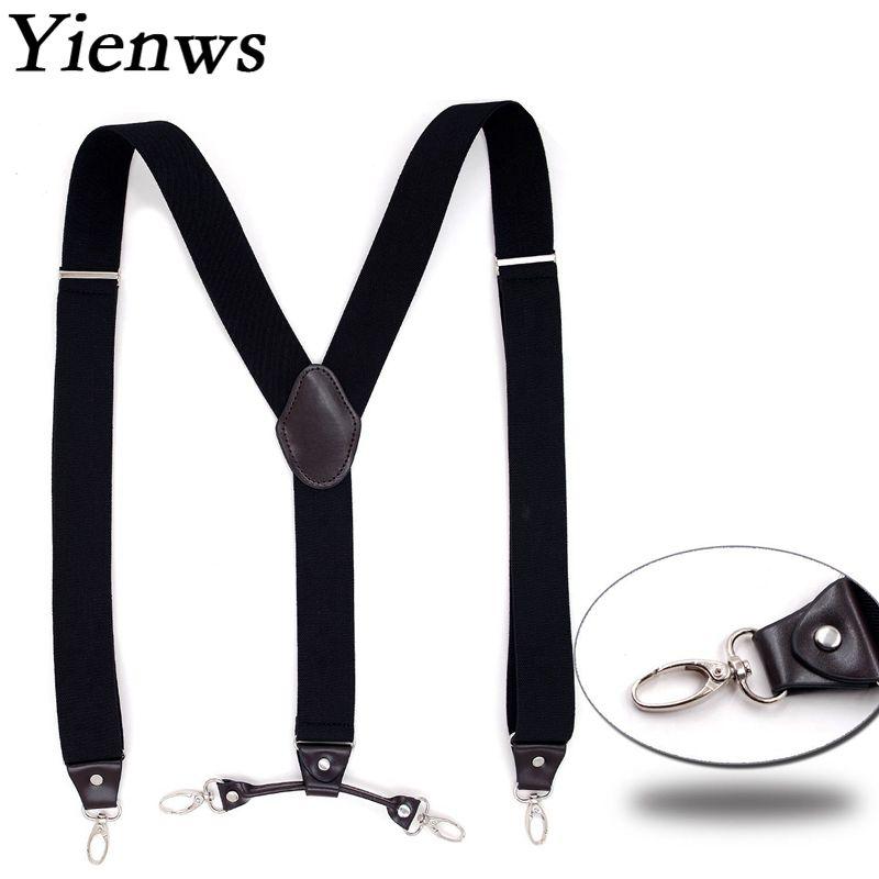 Yienws Men Leather Suspenders For Pants 4 Clip Button Trousers Brace Strap Man Suspensorio Black Bretelles Hommes 120cm YiA017