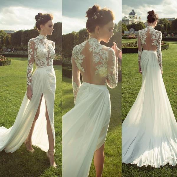 LORIE Boho Long Sleeve Wedding Dress 2019 Robe De Mariee Vintage Lace Top Side Split Bridal Dress Puffy Chiffon Wedding Dresses