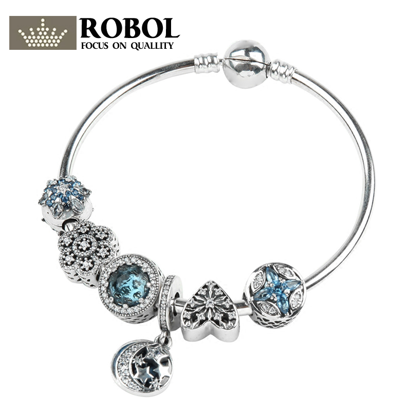 ROBOL 100% 925 Sterling Silver Brand New 1:1 Genuine Ocean Heart Charm Bracelet Fairytale Star Lady Bracelet Set