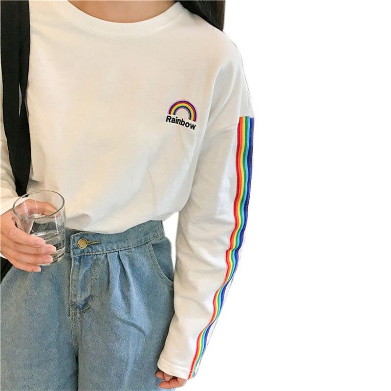 Camiseta coreana para mujer 2017 otoño nueva universidad kawaii Arco Iris bordado a rayas manga larga suelta Harajuku Top