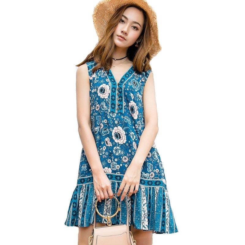 Femmes Boho plage été robe Vintage complexe marine dentelle louche Mini robe bohème col en v sans manches tunique robes Vestidos
