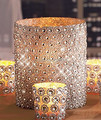 "Hot Sale Silver 3.75""*15FT(5Yards) 6Rows Sunflower Diamond Mesh Bling Crystal Ribbon Trim Wedding Cake Candle Decor"