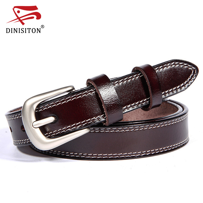 DINISITON Cow Leather Belt Women Ekte lær belter Design av høy kvalitet Metal pin Spennrem Jeans Kvinne Ceinture Femme